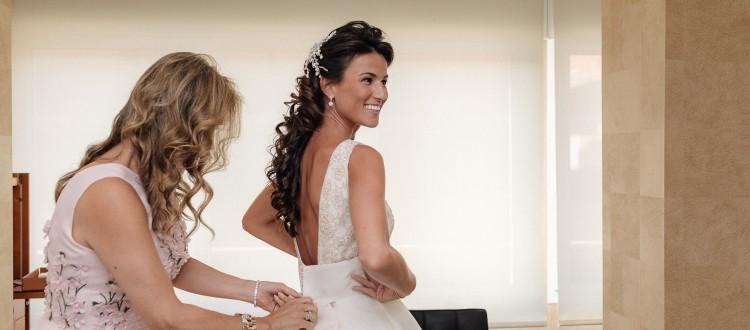 El vestido de la novia en detalle