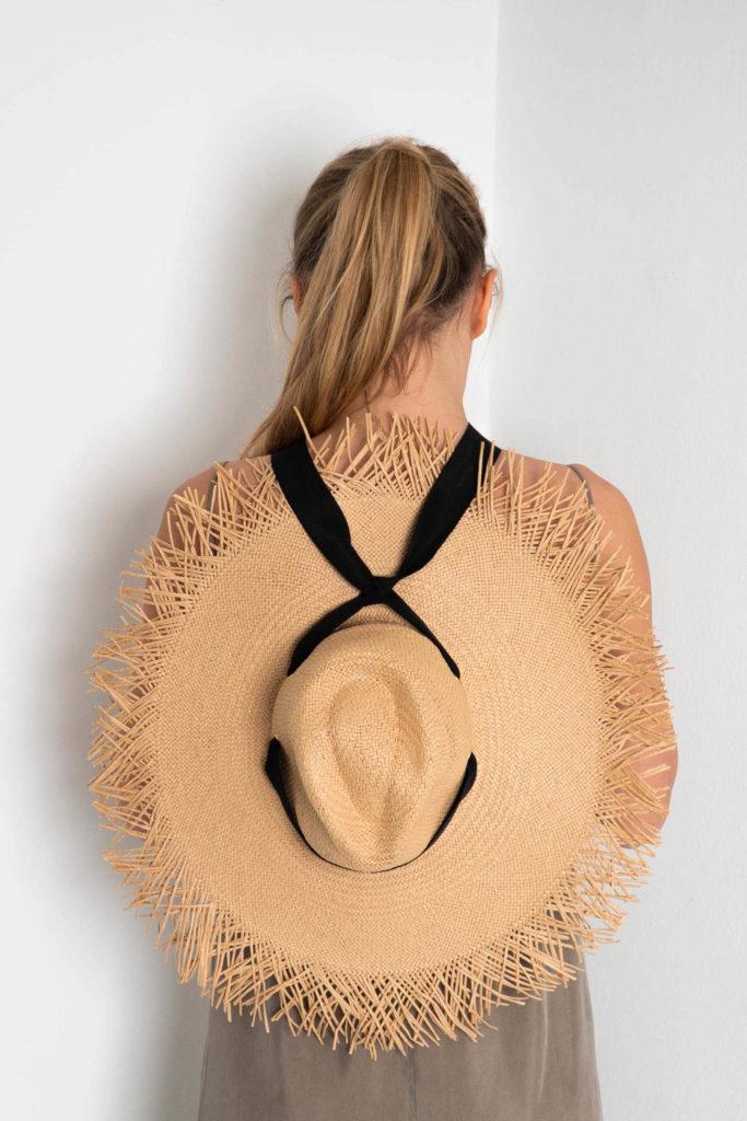 sombrero paja lazo negro