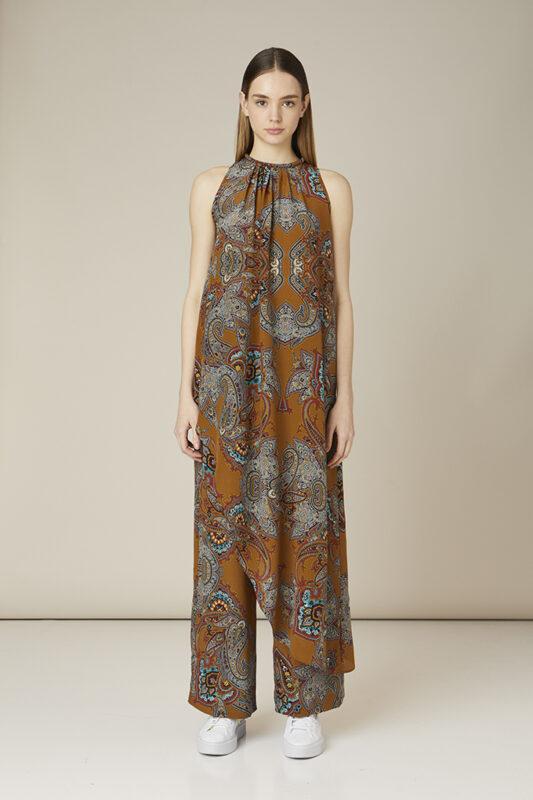 vestido estampado de flores marron